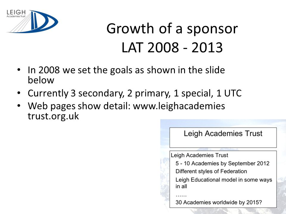 Growth of a sponsor LAT 2008 - 2013 In 2008 we set the goals as shown in the slide below Currently 3 secondary, 2 primary, 1 special, 1 UTC Web pages