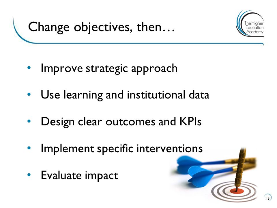 Improve strategic approach Use learning and institutional data Design clear outcomes and KPIs Implement specific interventions Evaluate impact 16 Change objectives, then…