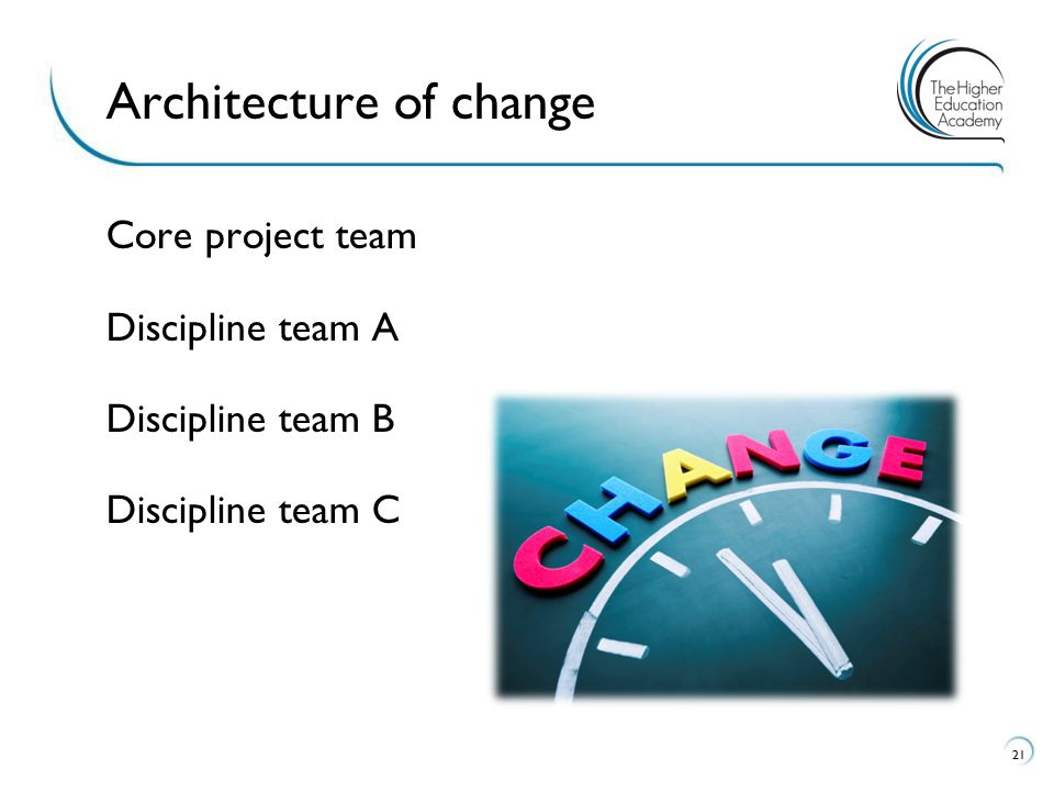 Core project team Discipline team A Discipline team B Discipline team C 21 Architecture of change