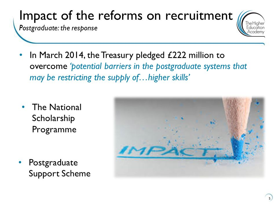 5 Impact of the reforms on recruitment Postgraduate: the response In March 2014, the Treasury pledged £222 million to overcome 'potential barriers in the postgraduate systems that may be restricting the supply of…higher skills' The National Scholarship Programme Postgraduate Support Scheme