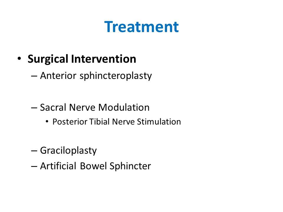 Treatment Surgical Intervention – Anterior sphincteroplasty – Sacral Nerve Modulation Posterior Tibial Nerve Stimulation – Graciloplasty – Artificial Bowel Sphincter