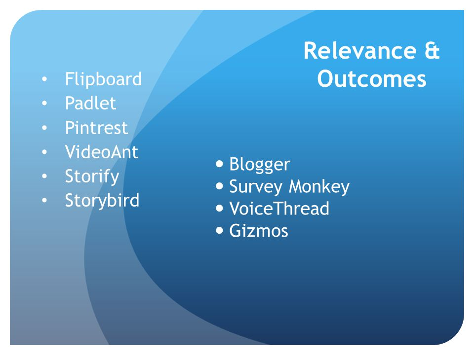 Relevance & Outcomes Blogger Survey Monkey VoiceThread Gizmos Flipboard Padlet Pintrest VideoAnt Storify Storybird