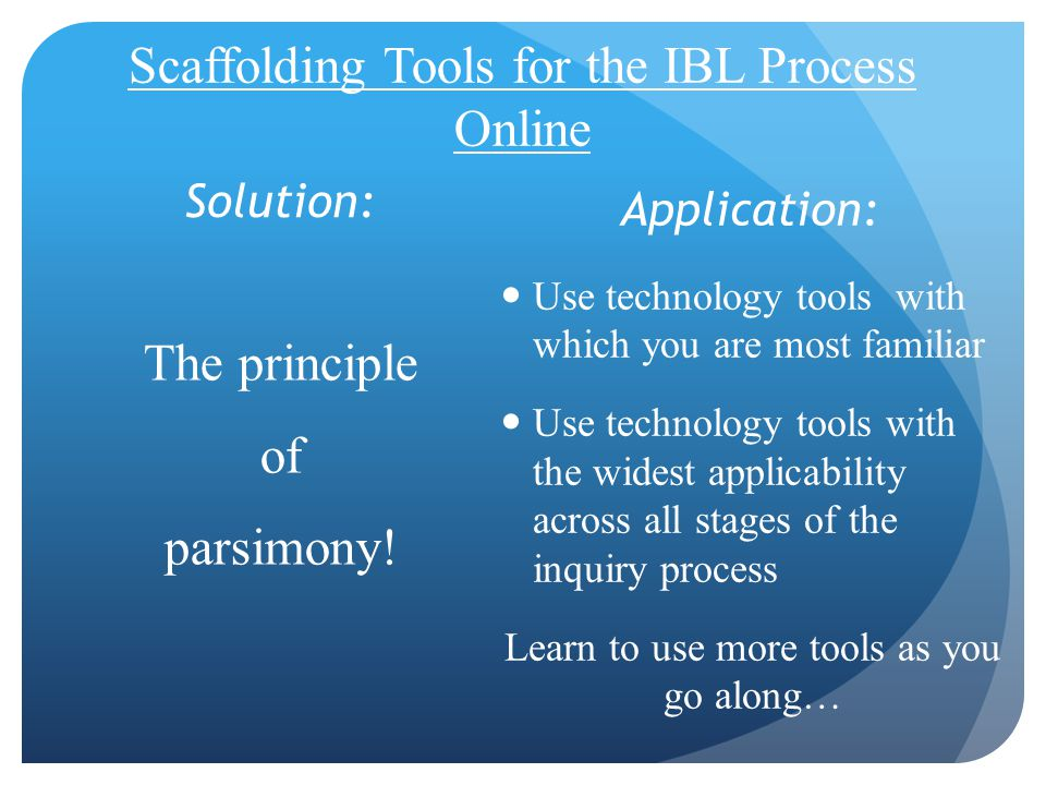 Scaffolding Tools for the IBL Process Online The principle of parsimony.