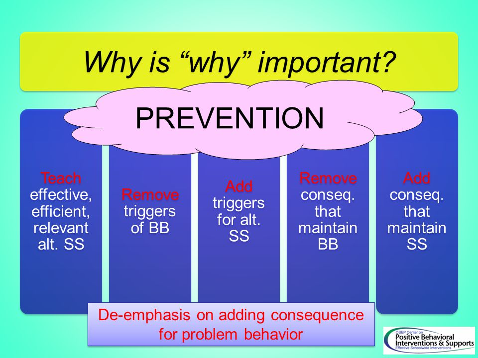PREVENTION De-emphasis on adding consequence for problem behavior