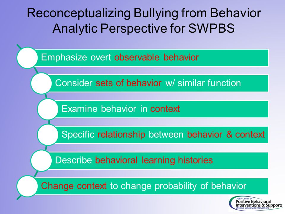 Reconceptualizing Bullying from Behavior Analytic Perspective for SWPBS