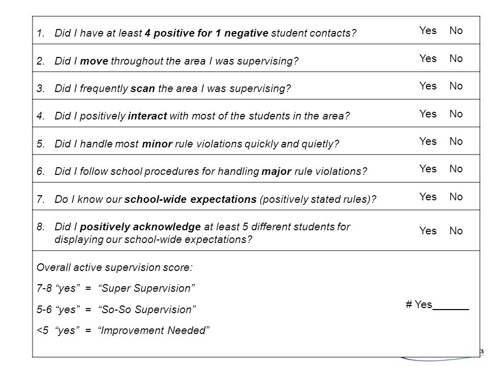 1.Did I have at least 4 positive for 1 negative student contacts? Yes No 2. Did I move throughout the area I was supervising? Yes No 3. Did I frequent