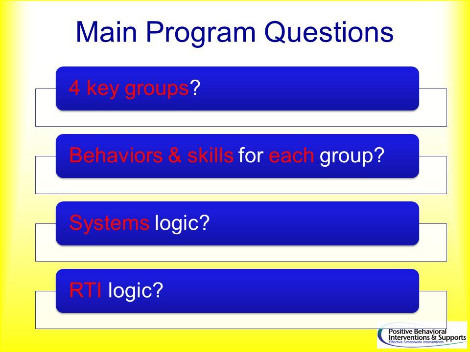 Main Program Questions