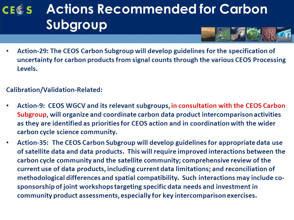 SIT-28 Meeting Hampton, Virginia, USA 11-15 March 2013 Action-29: The CEOS Carbon Subgroup will develop guidelines for the specification of uncertainty for carbon products from signal counts through the various CEOS Processing Levels.