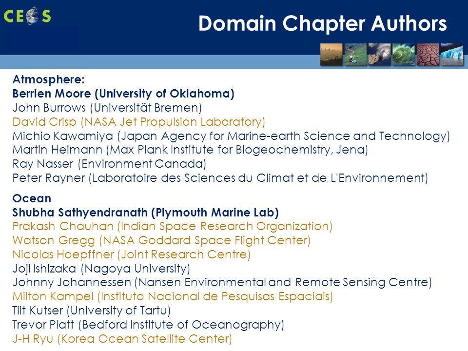SIT-28 Meeting Hampton, Virginia, USA 11-15 March 2013 Domain Chapter Authors Atmosphere: Berrien Moore (University of Oklahoma) John Burrows (Univers