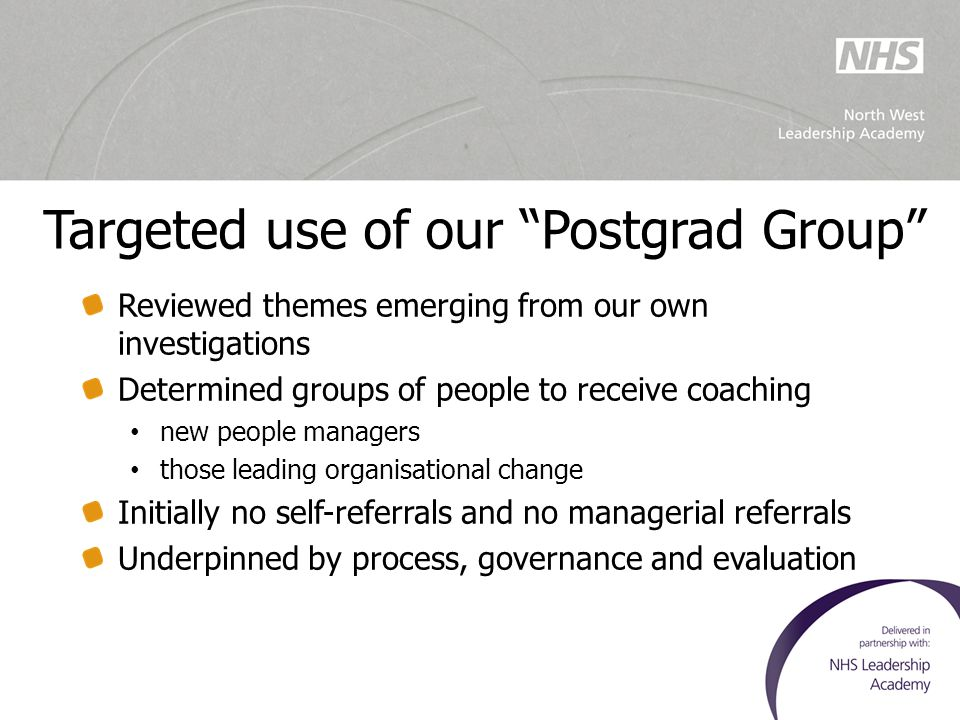 """Targeted use of our """"Postgrad Group"""" Reviewed themes emerging from our own investigations Determined groups of people to receive coaching new people m"""