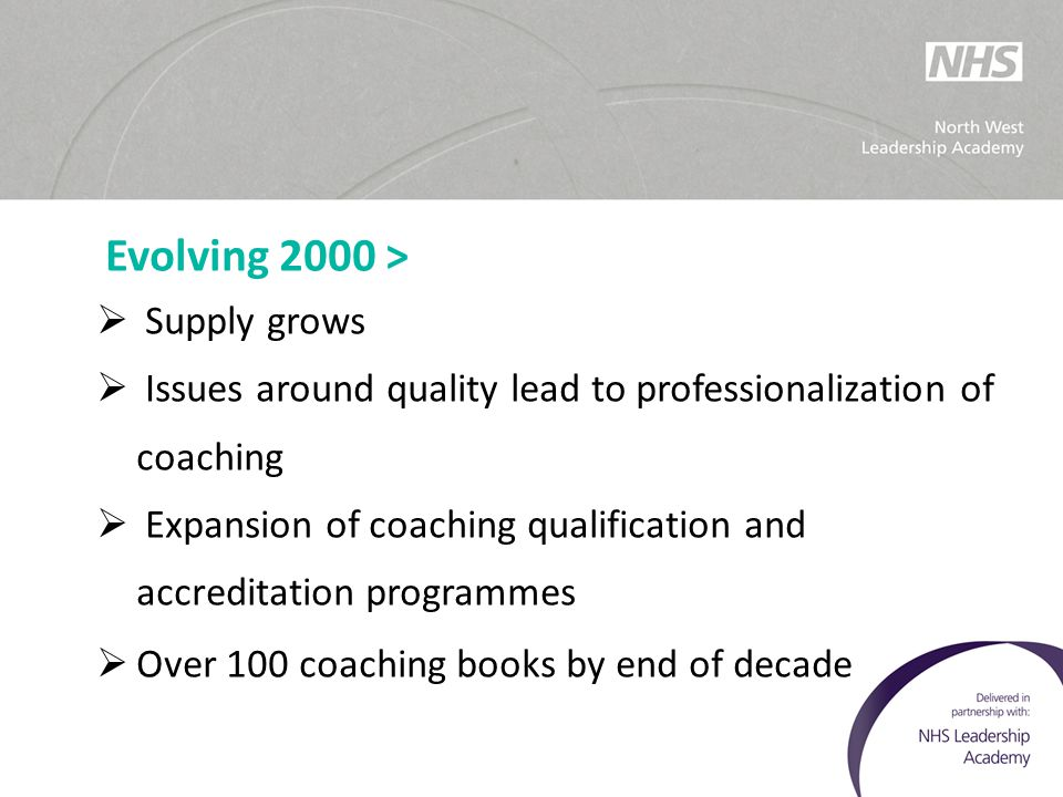 Evolving 2000 >  Supply grows  Issues around quality lead to professionalization of coaching  Expansion of coaching qualification and accreditation