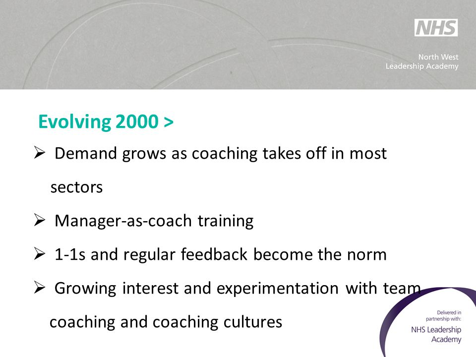 Evolving 2000 >  Demand grows as coaching takes off in most sectors  Manager-as-coach training  1-1s and regular feedback become the norm  Growing