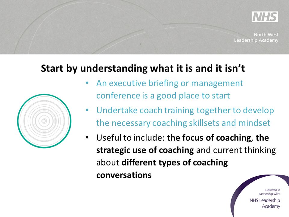 Start by understanding what it is and it isn't An executive briefing or management conference is a good place to start Undertake coach training togeth