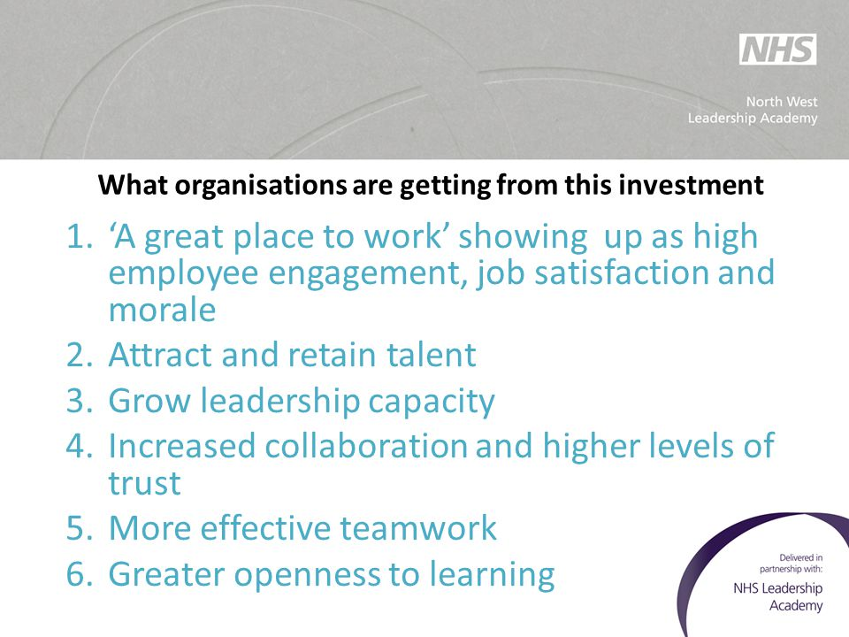 What organisations are getting from this investment 1.'A great place to work' showing up as high employee engagement, job satisfaction and morale 2.At