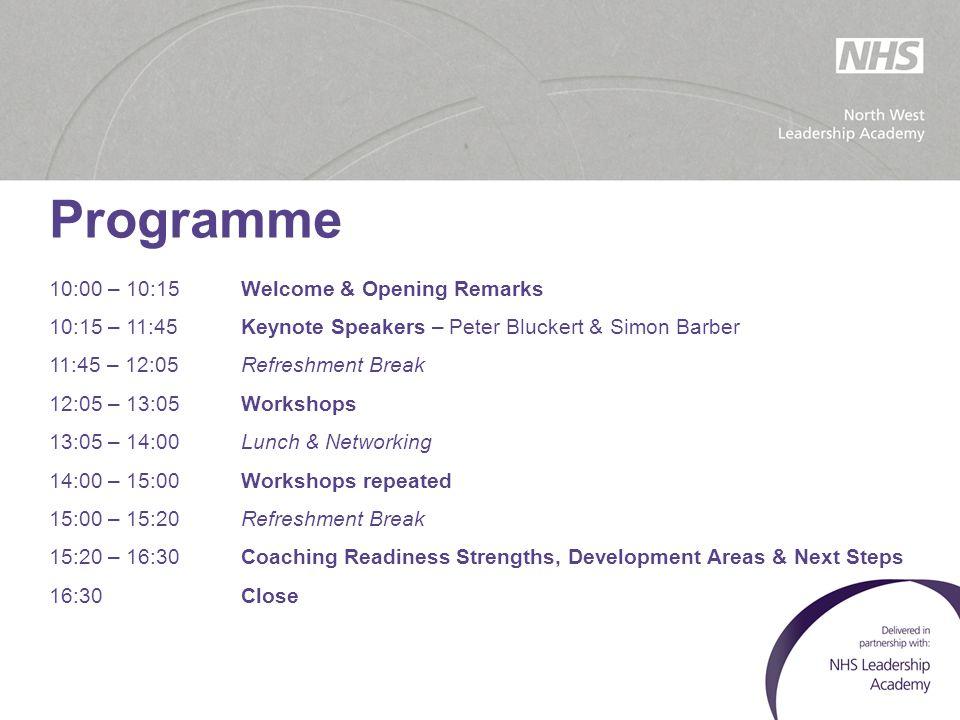 Programme 10:00 – 10:15Welcome & Opening Remarks 10:15 – 11:45Keynote Speakers – Peter Bluckert & Simon Barber 11:45 – 12:05Refreshment Break 12:05 –
