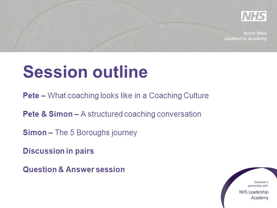 Session outline Pete – What coaching looks like in a Coaching Culture Pete & Simon – A structured coaching conversation Simon – The 5 Boroughs journey