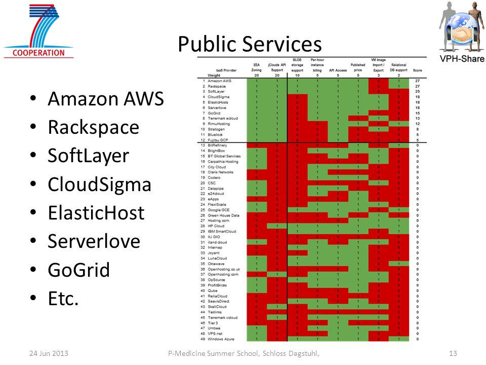 P-Medicine Summer School, Schloss Dagstuhl,1324 Jun 2013 Public Services Amazon AWS Rackspace SoftLayer CloudSigma ElasticHost Serverlove GoGrid Etc.