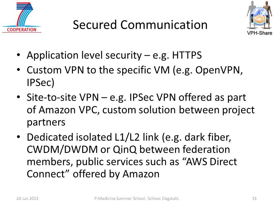P-Medicine Summer School, Schloss Dagstuhl,3124 Jun 2013 Secured Communication Application level security – e.g.