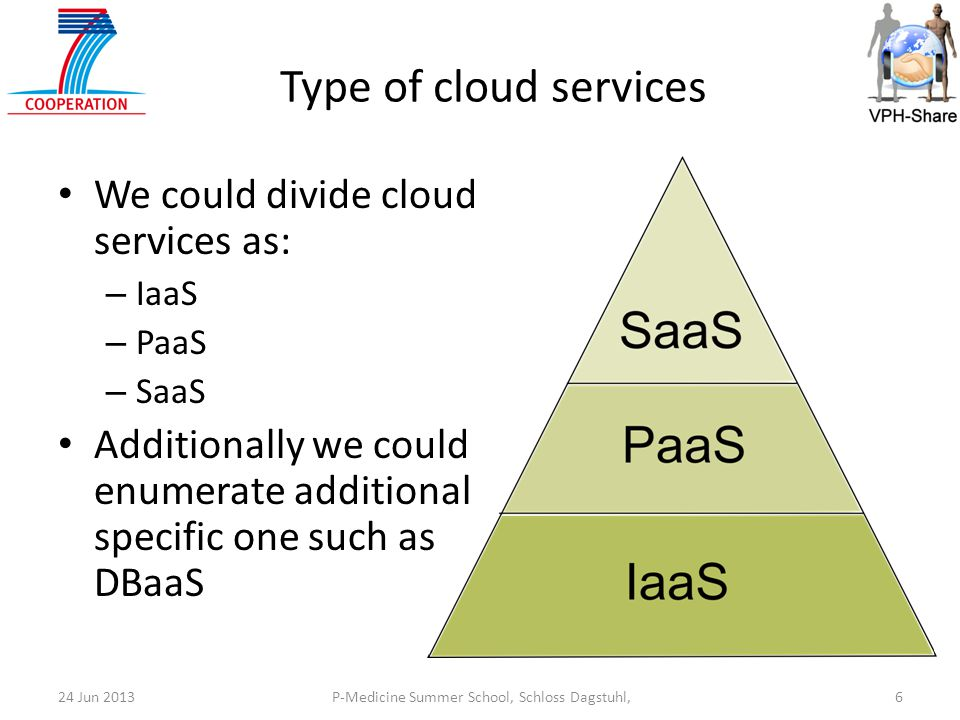P-Medicine Summer School, Schloss Dagstuhl,624 Jun 2013 Type of cloud services We could divide cloud services as: – IaaS – PaaS – SaaS Additionally we could enumerate additional specific one such as DBaaS