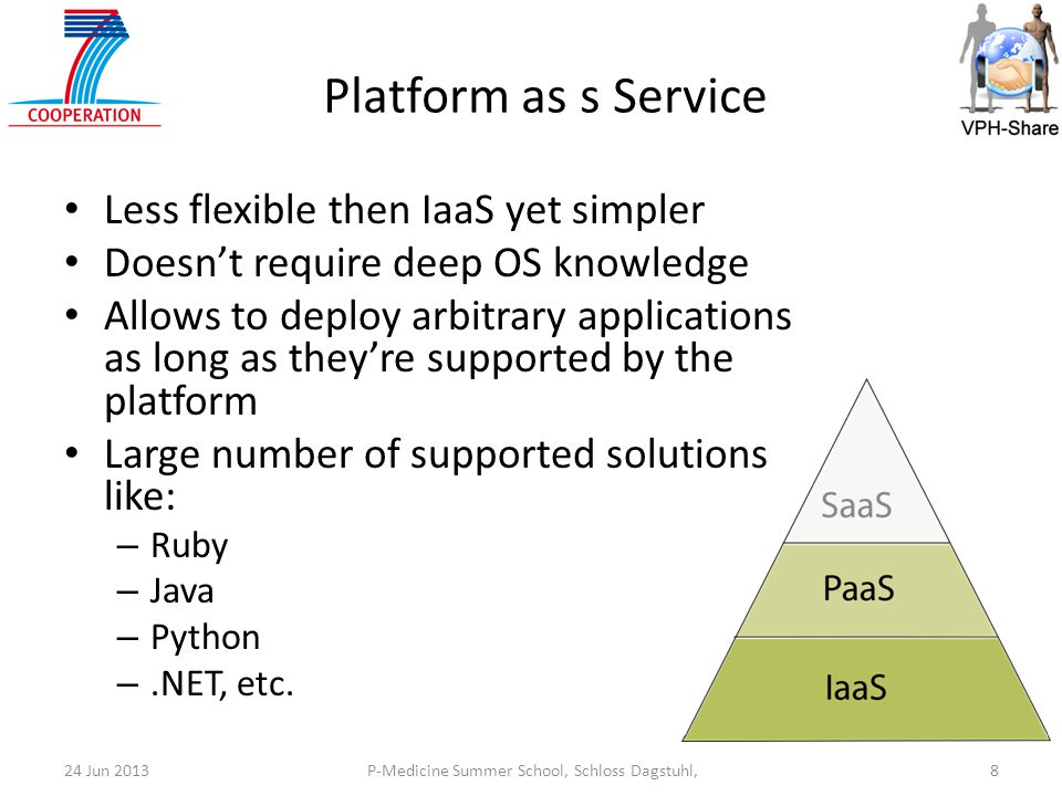 P-Medicine Summer School, Schloss Dagstuhl,824 Jun 2013 Platform as s Service Less flexible then IaaS yet simpler Doesn't require deep OS knowledge Allows to deploy arbitrary applications as long as they're supported by the platform Large number of supported solutions like: – Ruby – Java – Python –.NET, etc.