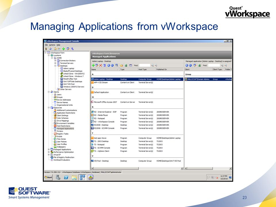 23 Managing Applications from vWorkspace