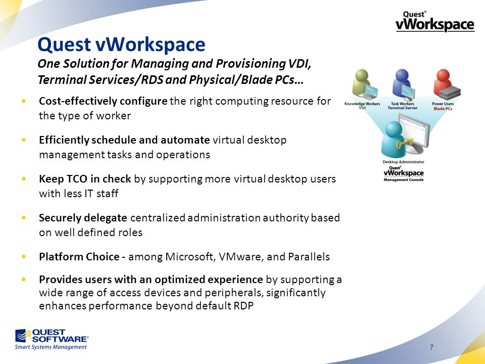 18 Broker VDI: Multiple Options Terminal Services/RDSH Blade PCs User Experience Optimized Performance Range of Access Devices Universal USB and Print Management Automation Flexibility Security Solution: Quest vWorkspace