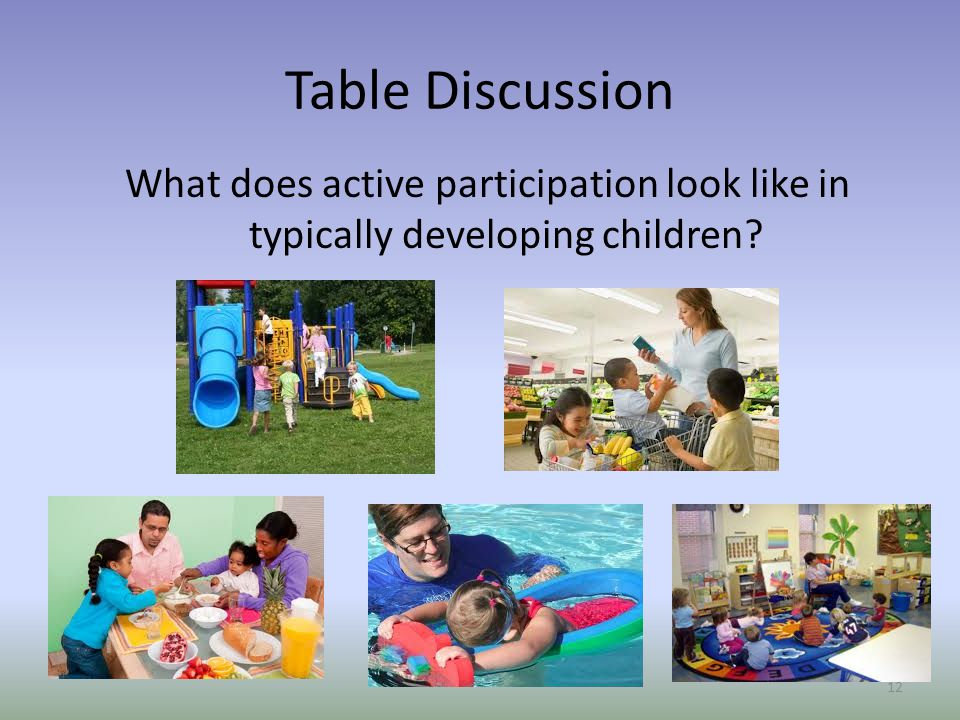 Table Discussion What does active participation look like in typically developing children? 12