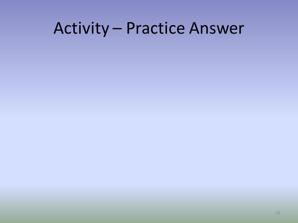 Activity – Practice Answer 28