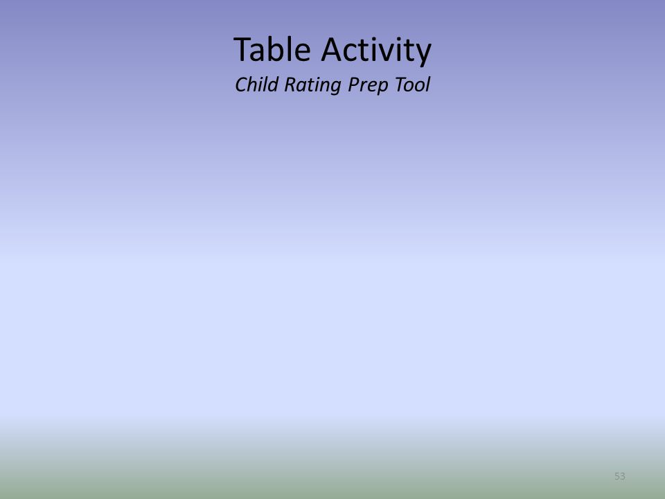 Table Activity Child Rating Prep Tool 53
