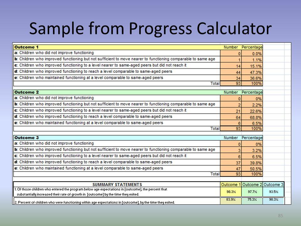 Sample from Progress Calculator 85