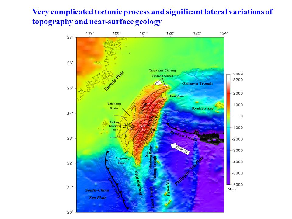 Very complicated tectonic process and significant lateral variations of topography and near-surface geology