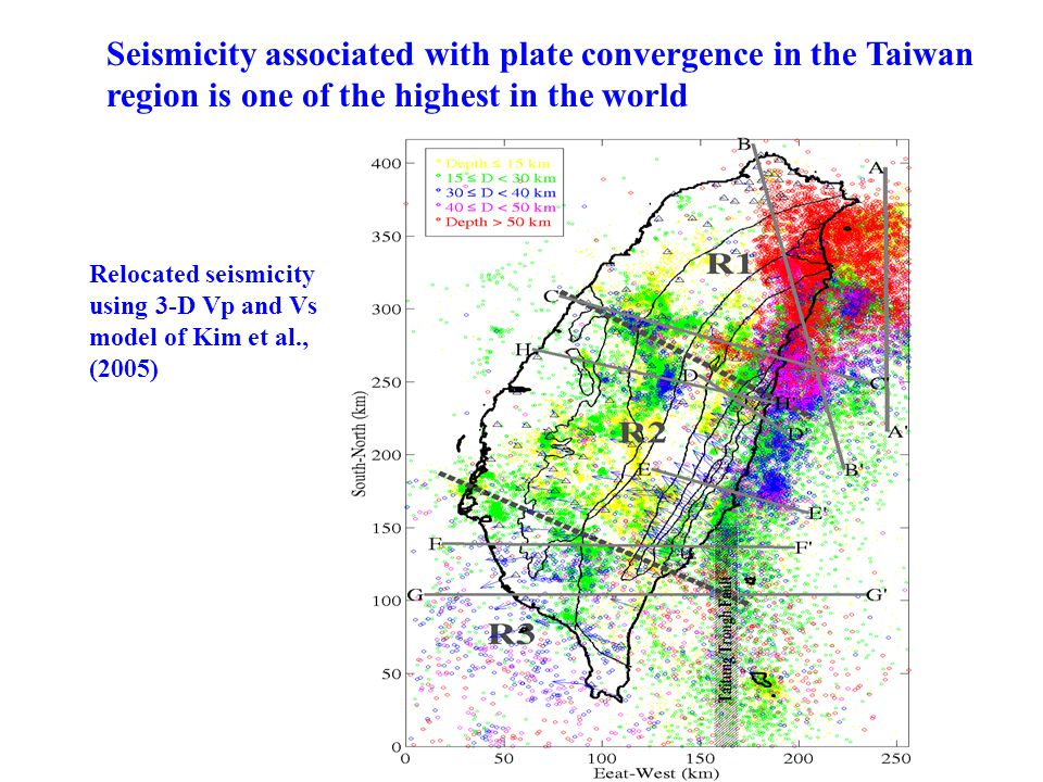 Seismicity associated with plate convergence in the Taiwan region is one of the highest in the world Relocated seismicity using 3-D Vp and Vs model of Kim et al., (2005)