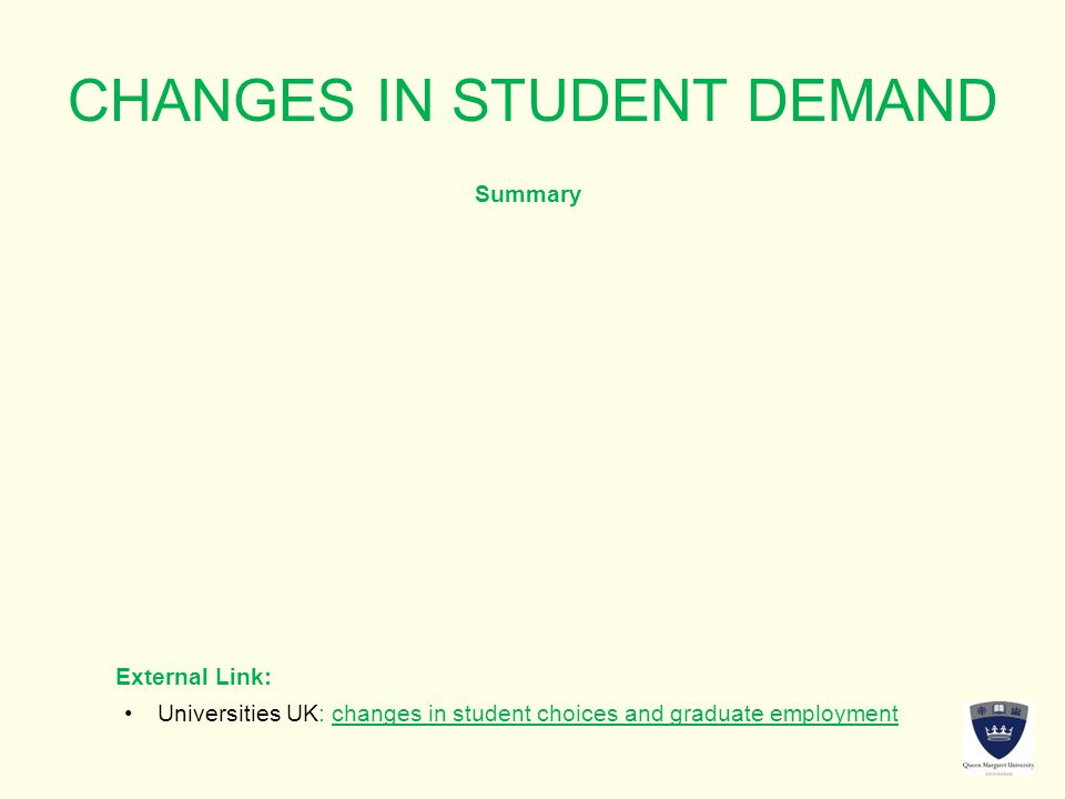 CHANGES IN STUDENT DEMAND Summary External Link: Universities UK: changes in student choices and graduate employmentUniversities UK: changes in student choices and graduate employment