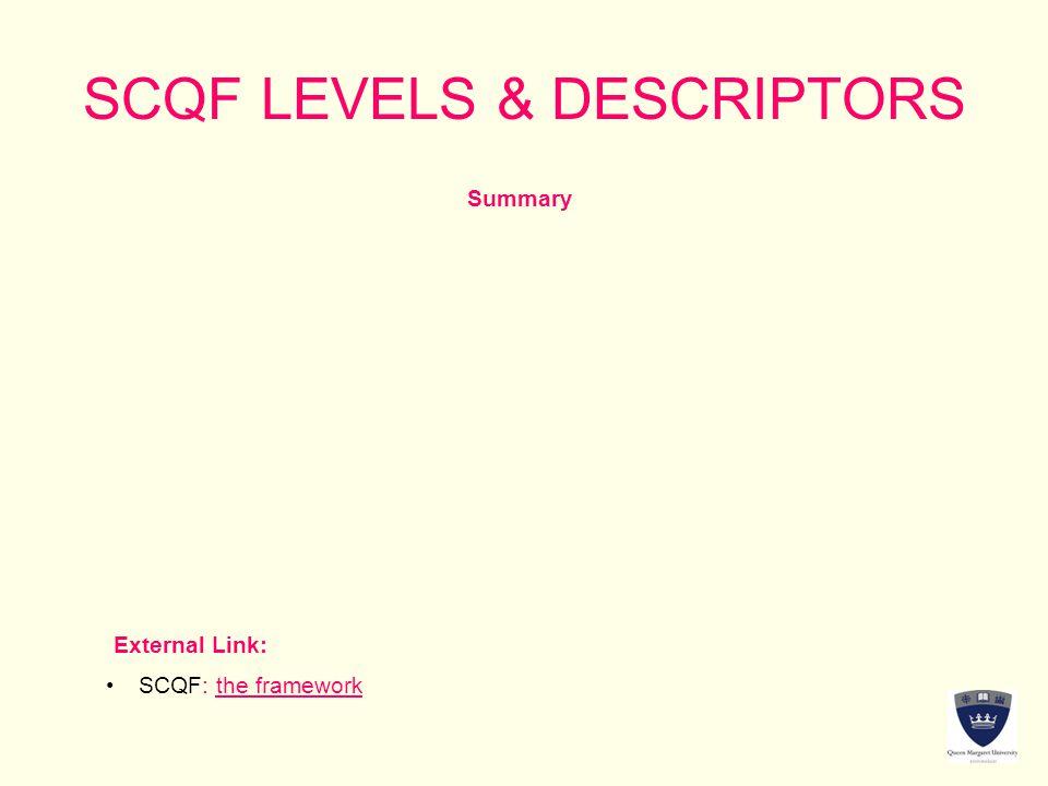 SCQF LEVELS & DESCRIPTORS Summary External Link: SCQF: the frameworkSCQF: the framework