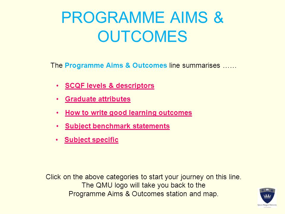 PROGRAMME AIMS & OUTCOMES The Programme Aims & Outcomes line summarises …… Click on the above categories to start your journey on this line.