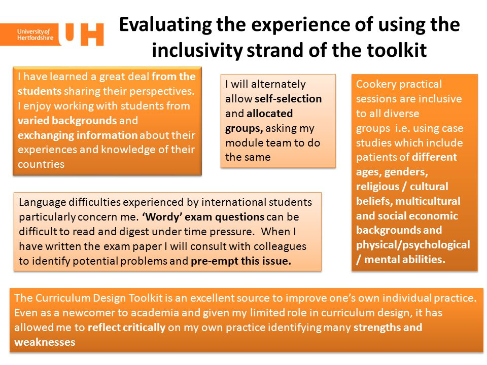 Evaluating the experience of using the inclusivity strand of the toolkit I will alternately allow self-selection and allocated groups, asking my modul