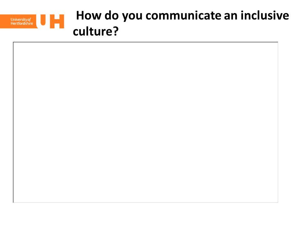 How do you communicate an inclusive culture?