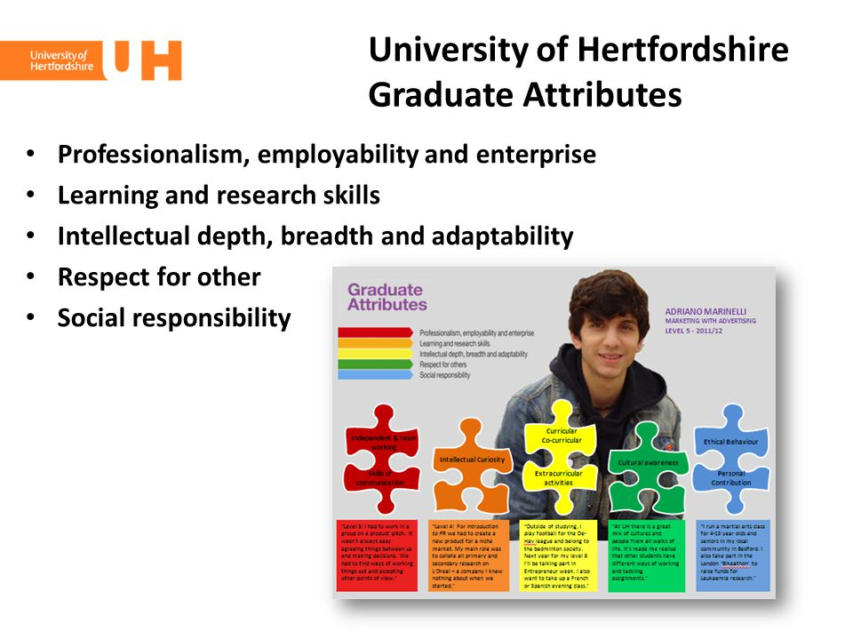 University of Hertfordshire Graduate Attributes Professionalism, employability and enterprise Learning and research skills Intellectual depth, breadth