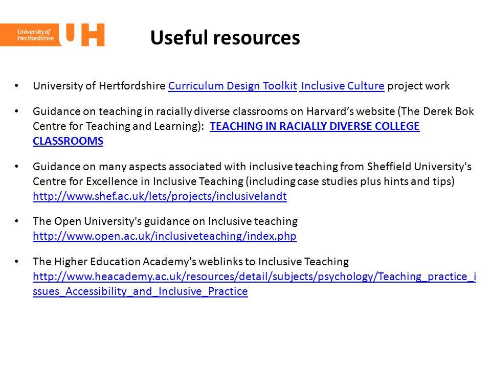 Useful resources University of Hertfordshire Curriculum Design Toolkit Inclusive Culture project workCurriculum Design Toolkit Inclusive Culture Guida