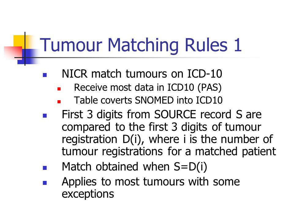 Tumour Matching Rules 1 NICR match tumours on ICD-10 Receive most data in ICD10 (PAS) Table coverts SNOMED into ICD10 First 3 digits from SOURCE record S are compared to the first 3 digits of tumour registration D(i), where i is the number of tumour registrations for a matched patient Match obtained when S=D(i) Applies to most tumours with some exceptions