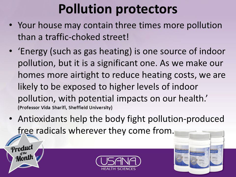 Pollution protectors Your house may contain three times more pollution than a traffic-choked street.