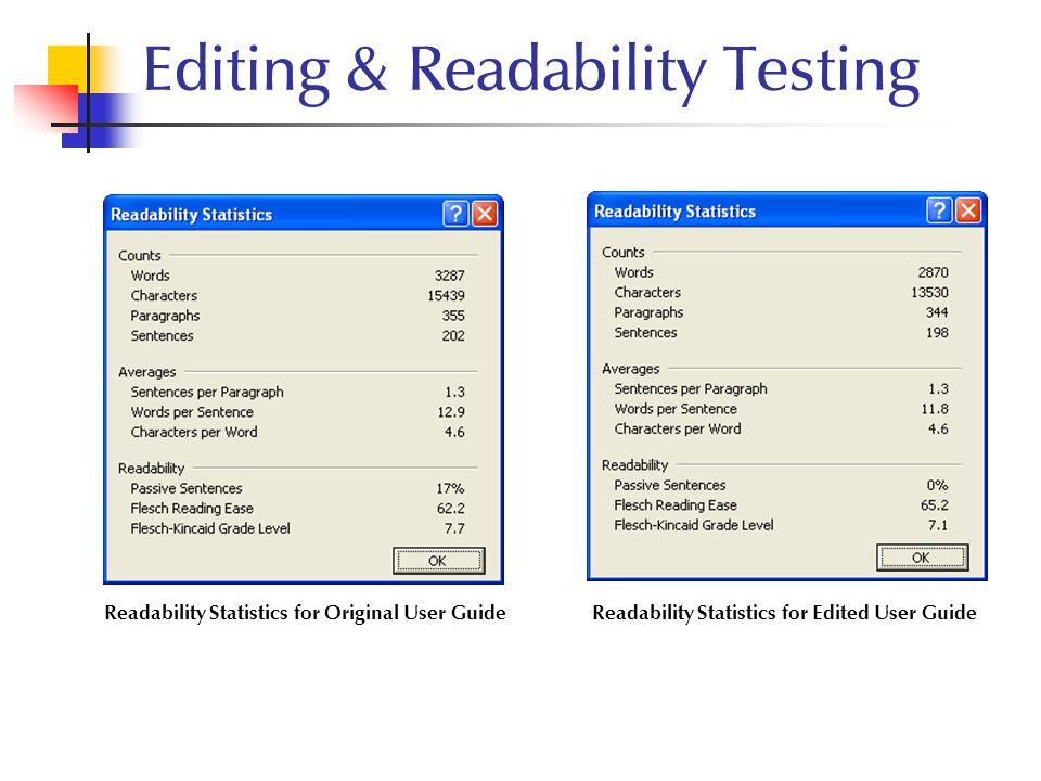 Editing & Readability Testing Readability Statistics for Edited User GuideReadability Statistics for Original User Guide