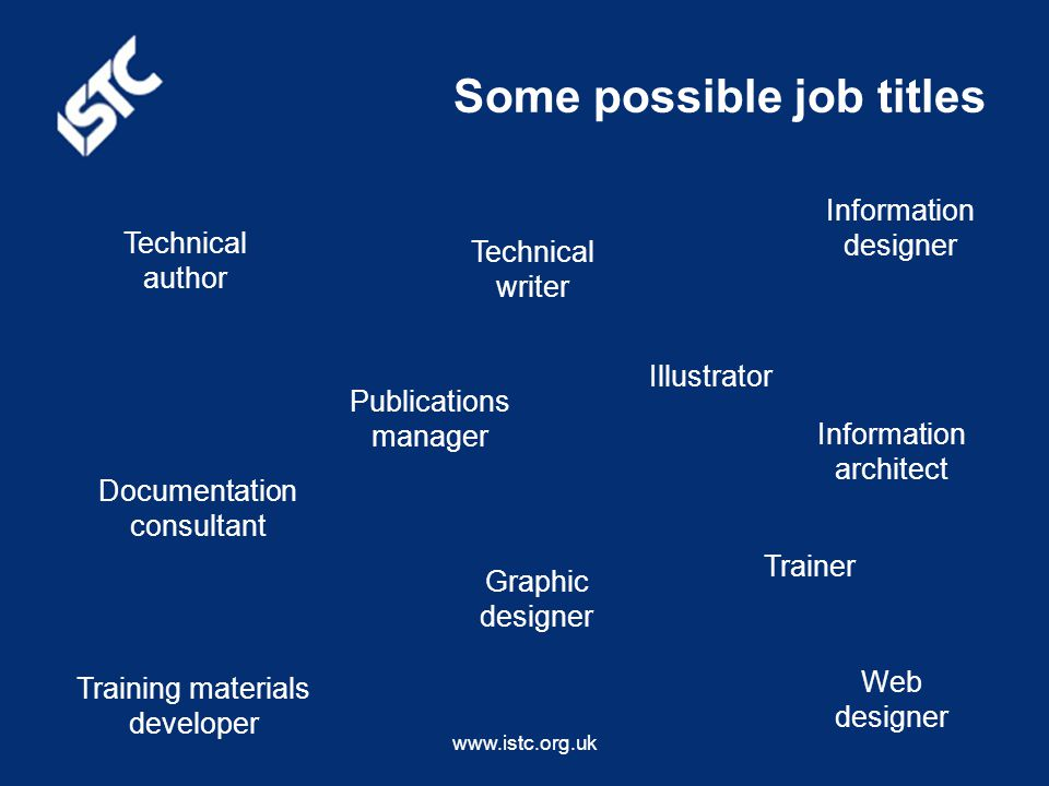 www.istc.org.uk Some possible job titles Technical author Technical writer Publications manager Trainer Training materials developer Documentation consultant Illustrator Information designer Information architect Web designer Graphic designer