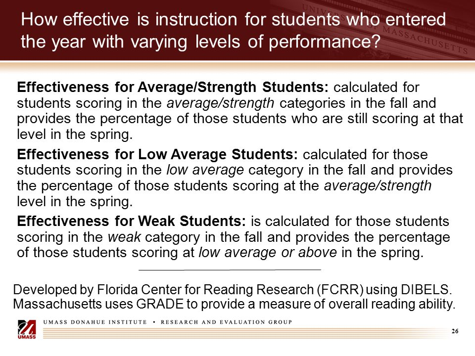 26 How effective is instruction for students who entered the year with varying levels of performance? Developed by Florida Center for Reading Research