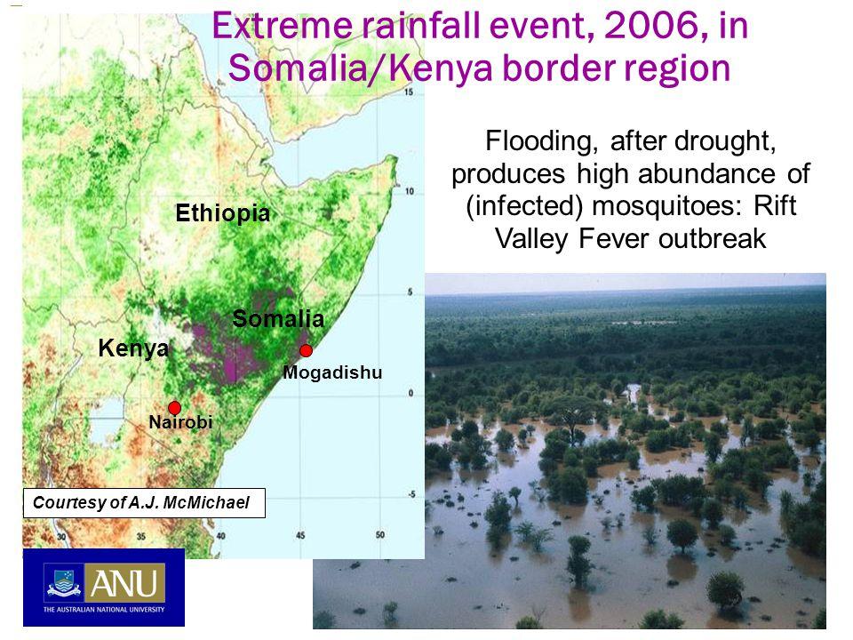 Flooding, after drought, produces high abundance of (infected) mosquitoes: Rift Valley Fever outbreak Ethiopia Somalia Kenya Nairobi Mogadishu Extreme rainfall event, 2006, in Somalia/Kenya border region Courtesy of A.J.
