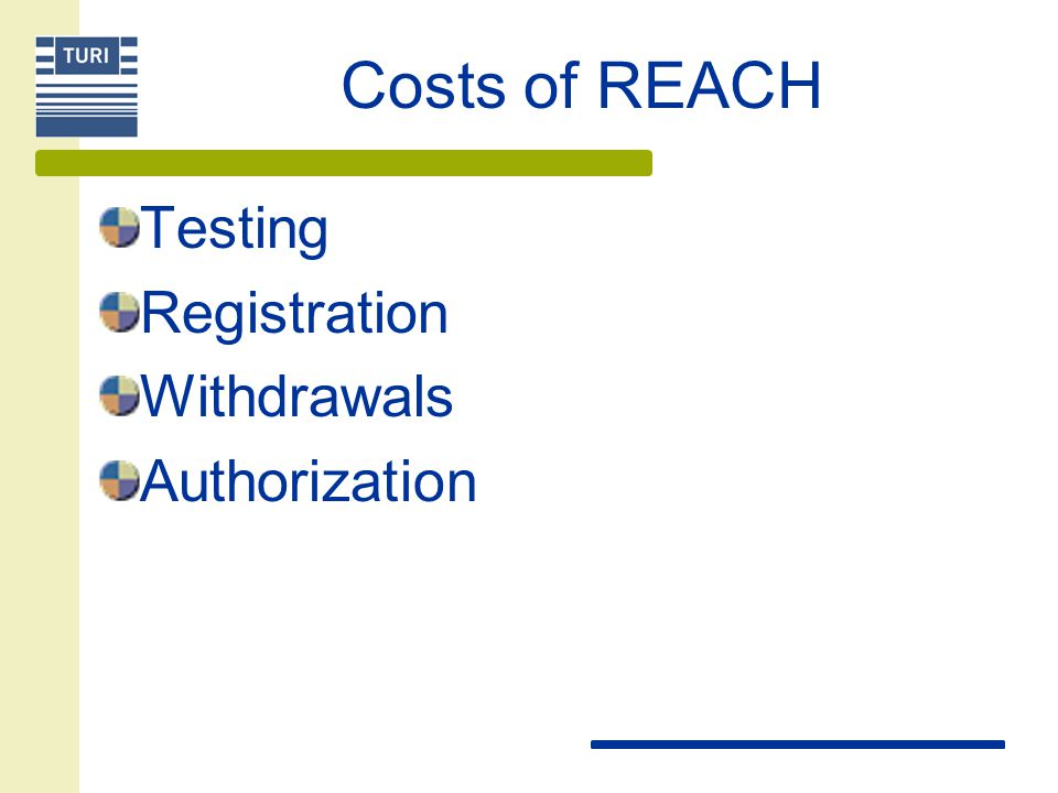 Costs of REACH Testing Registration Withdrawals Authorization