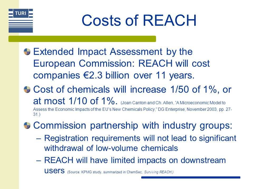 Costs of REACH Extended Impact Assessment by the European Commission: REACH will cost companies €2.3 billion over 11 years.
