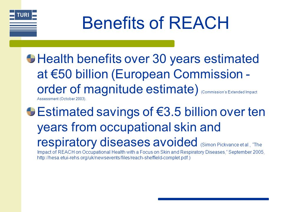 Benefits of REACH Health benefits over 30 years estimated at €50 billion (European Commission - order of magnitude estimate) (Commission's Extended Impact Assessment (October 2003).