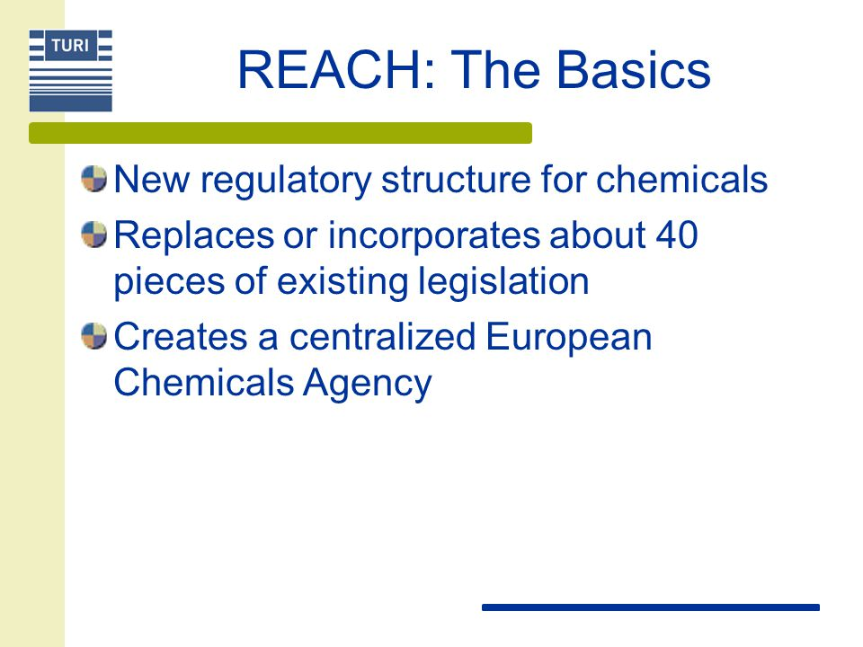 REACH: The Basics New regulatory structure for chemicals Replaces or incorporates about 40 pieces of existing legislation Creates a centralized European Chemicals Agency