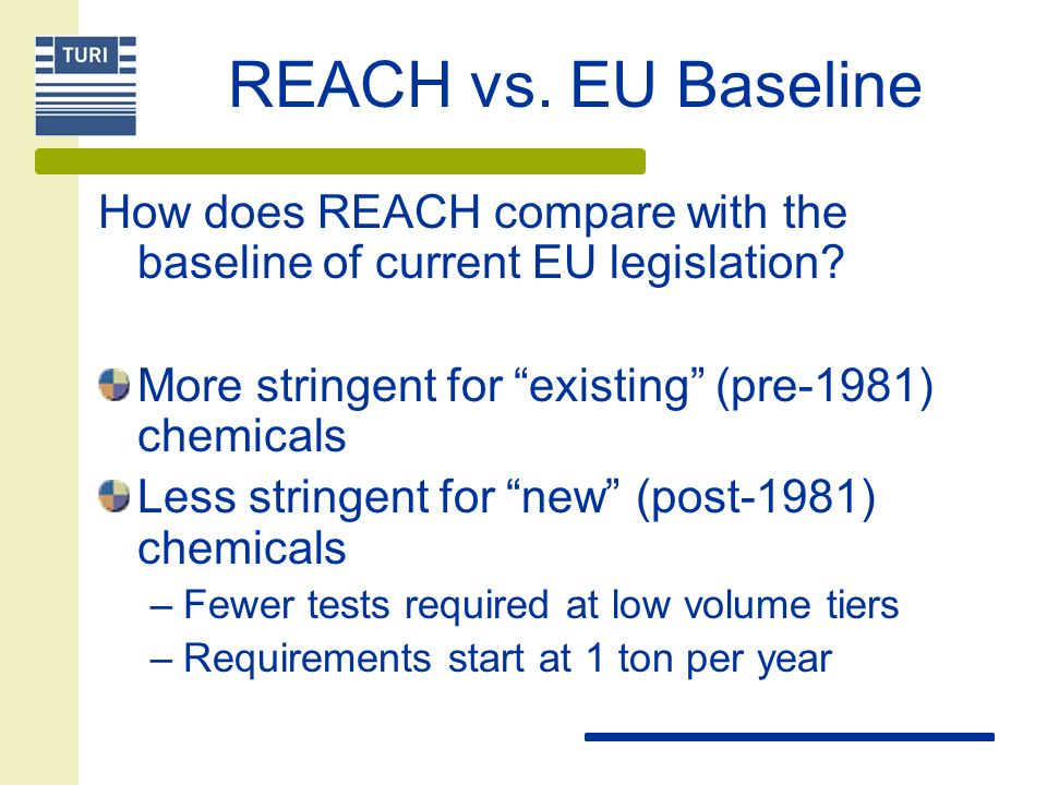 REACH vs. EU Baseline How does REACH compare with the baseline of current EU legislation.
